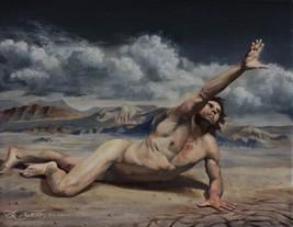LEO PLAW - ORIGINAL figurative oil painting - Last Stretch - $600.00