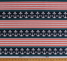 Nautical Stripes Anchors Ropes (6 Parallel Stripes) Cotton Fabric BTY D7... - $10.95