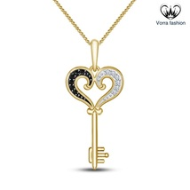 Heart Shape Key Pendants With Chain For Womens 14k Yellow Gold Plated 92... - £34.12 GBP