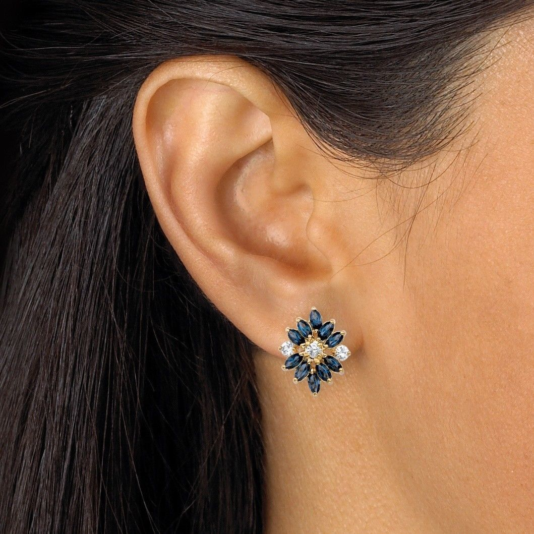 Blue Crystal 18k Gold-Plated Floral Earrings MADE WITH SWAROVSKI ELEMENTS