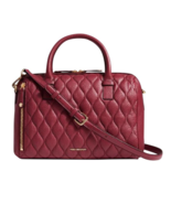 Vera Bradley Leather Quilted Marlo Satchel Claret Maroon Gently Used w/ ... - $123.49