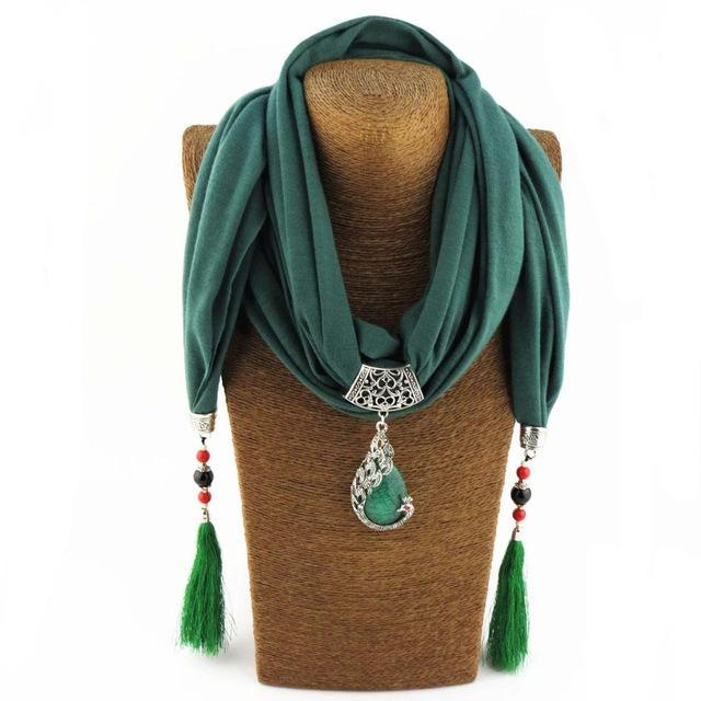 FNQUFUJ Unique Ethnic Vintage Ladies Scarf with Fringe Tassels, Beads and Pendan