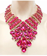 Luxurious Statement Evening Necklace Earring Fuchsia Pink Rhinestone Dra... - $68.40
