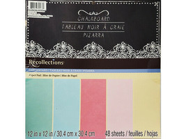 Recollections Chalkboard 12x12 Cardstock Stack, 5 Colors, 48 Single-Sided Sheets