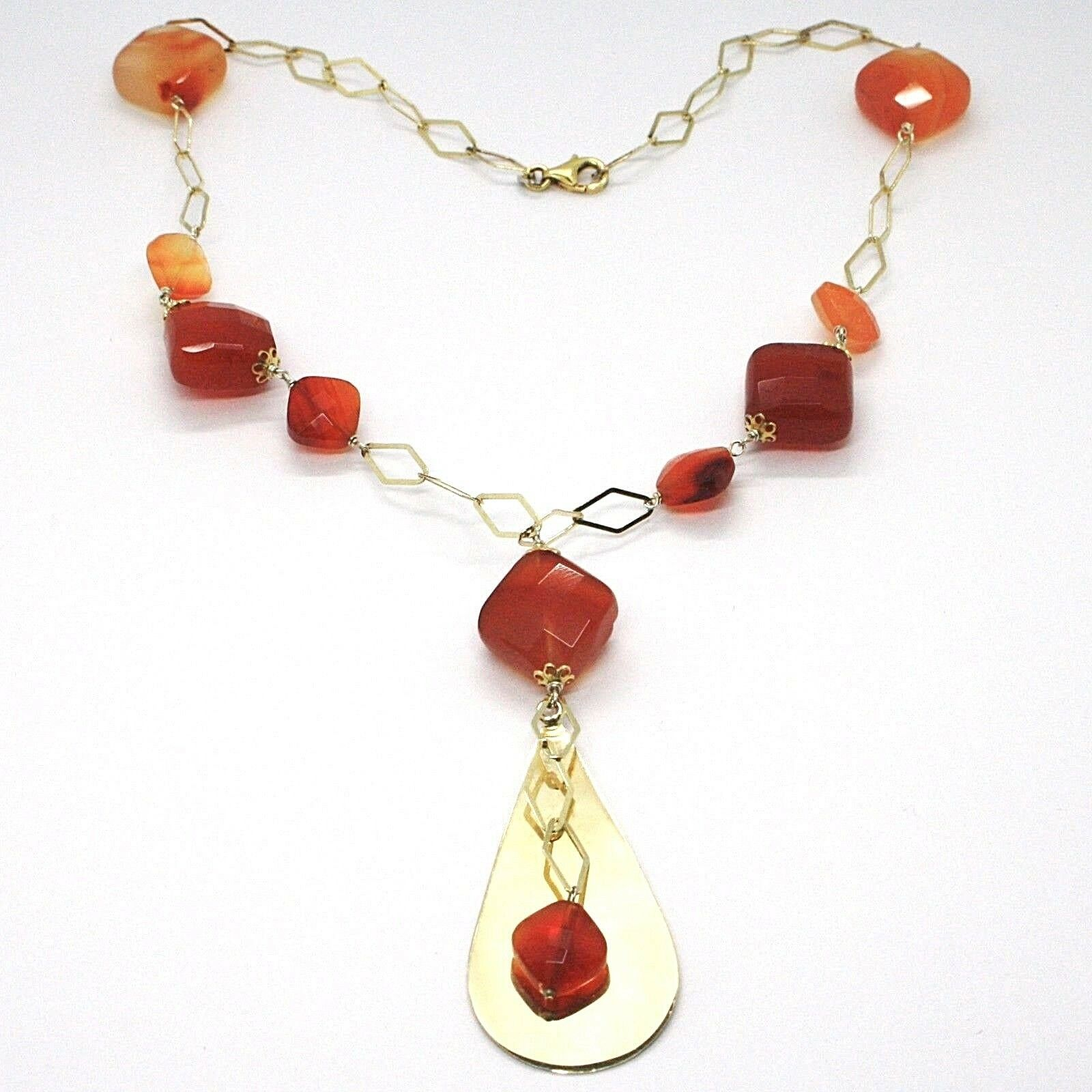 Necklace Silver 925, Yellow, Agate Brown Squared, Drop Pendant