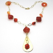 Necklace Silver 925, Yellow, Agate Brown Squared, Drop Pendant image 1