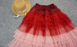Tiered Long Tulle Skirt Red Pink High Waisted Layered Tulle Skirt Party Outfit image 5