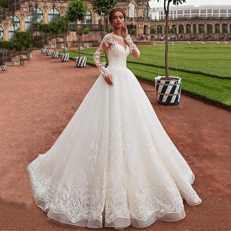 Dest tulle wedding dresses 2019 long sleeve court train bridal dress with lace appliques wedding