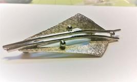"Vintage Jewelry: 2 1/4"" Modern Style Silver Tone Brooch 171204 - $9.89"
