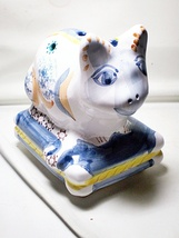 Hand Painted Ceramic Pottery Cat Flower Frog - $25.00