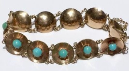 RARE 15k rose gold Victorian natural Persian turquoise cabochon  bracelet - $1,731.85