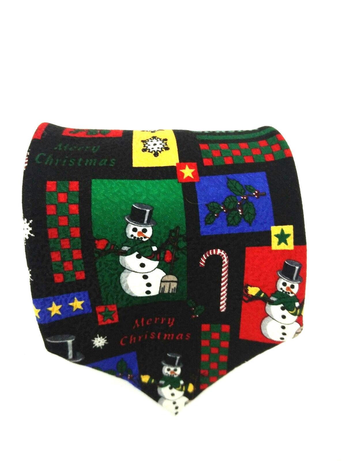 RM Holidays Mens Multicolor Tie Ralph Marlin Christmas Collage Snowmen Black Tie