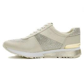 Michael Kors MK Women's Allie Wrap Trainer Glitter Sneakers Shoes Pale Gold image 5
