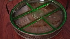 Uranium or Vaseline glass server Huge green glows in blacklight basket h... - $350.00