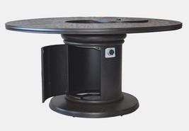 Cast Aluminum 7 Piece Round Propane Firepit Dining Table Grand Tuscany Set image 2