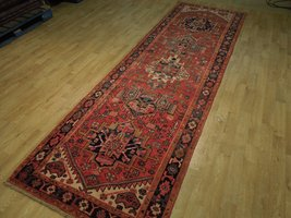 Tribal Inspired Olde Runner Persian Hand-Knotted 2' x 11' Red Heriz Wool Rug image 5