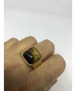 Oro Vintage Acciaio Inox Originale di Tigre Occhio Uomo Misura 13 Anello - $39.58