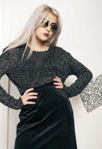 Silver knit jumper - 90s vintage sweater - $34.21