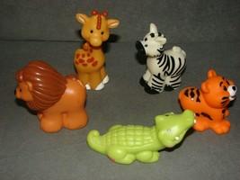 Fisher Price Little People: Lot of 5 Animals Alligator Zebra Giraffe Lio... - $14.00