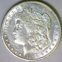 1890-S Morgan Dollar; Nice AU; Flashy Prooflike Reverse - $58.40