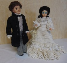 "Vintage Bride & Groom 15"" Dolls Handmade Crochet Clothes Gown Tuxedo Par... - $34.65"