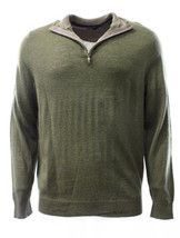 Club Room Men's Olive Green 1/4 Zip Merino Wool Blends Knit Pullover Swe... - £34.52 GBP