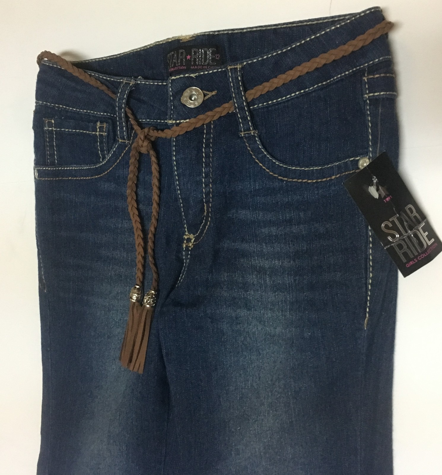 Star Ride Western Flare Blue Jeans Girl's Sz 12 NWT