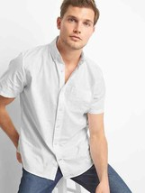 Gap Men Shirt L White Short Sleeve Button Front Patch Pocket Standard Fi... - $29.99