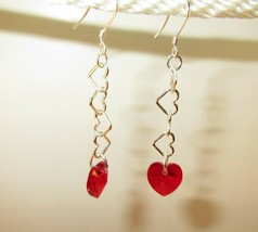 made w Petite Red Siam SWAROVSKI Crystal Heart w Silver Heart Dangle Ear... - $12.87
