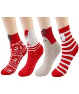 Women's Comfort Christmas Festive Holiday Printed Casual Crew Sock Pack ... - $8.00