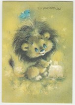 Vintage Birthday Card Baby Lion with Cake 1960's Ambassador - $8.90