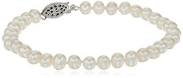Sterling Silver White Freshwater Cultured A Quality Pearl Bracelet (5.5-... - $28.05