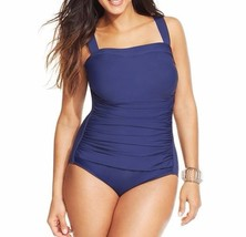 INC International Concepts One Piece Sz 20 Navy Blue Ruched One Piece Sw... - $39.53