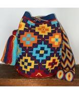 Authentic 100% Wayuu Mochila Colombian Bag Large Size Gorgeous dusty Ble... - $86.00