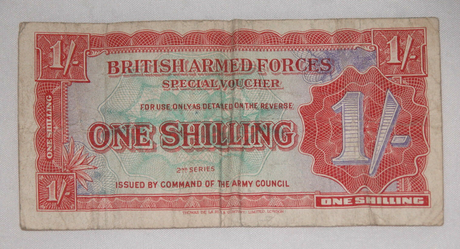 Primary image for British Armed Forces Special Voucher ONE SHILLING 2nd Series 1952 USA