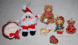 Vintage Christmas Ornaments LOT Reindeer Heart Dog Bear Doll Santa Mrs C... - $13.32