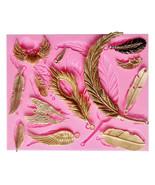 Feathers Silicone Mold, Leaf Silicone Mold, Silicone Mold, Cake Decorati... - $13.99