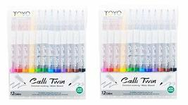 Toyo Water Based Calligraphy Twin Pen 12 Colors Set of 2