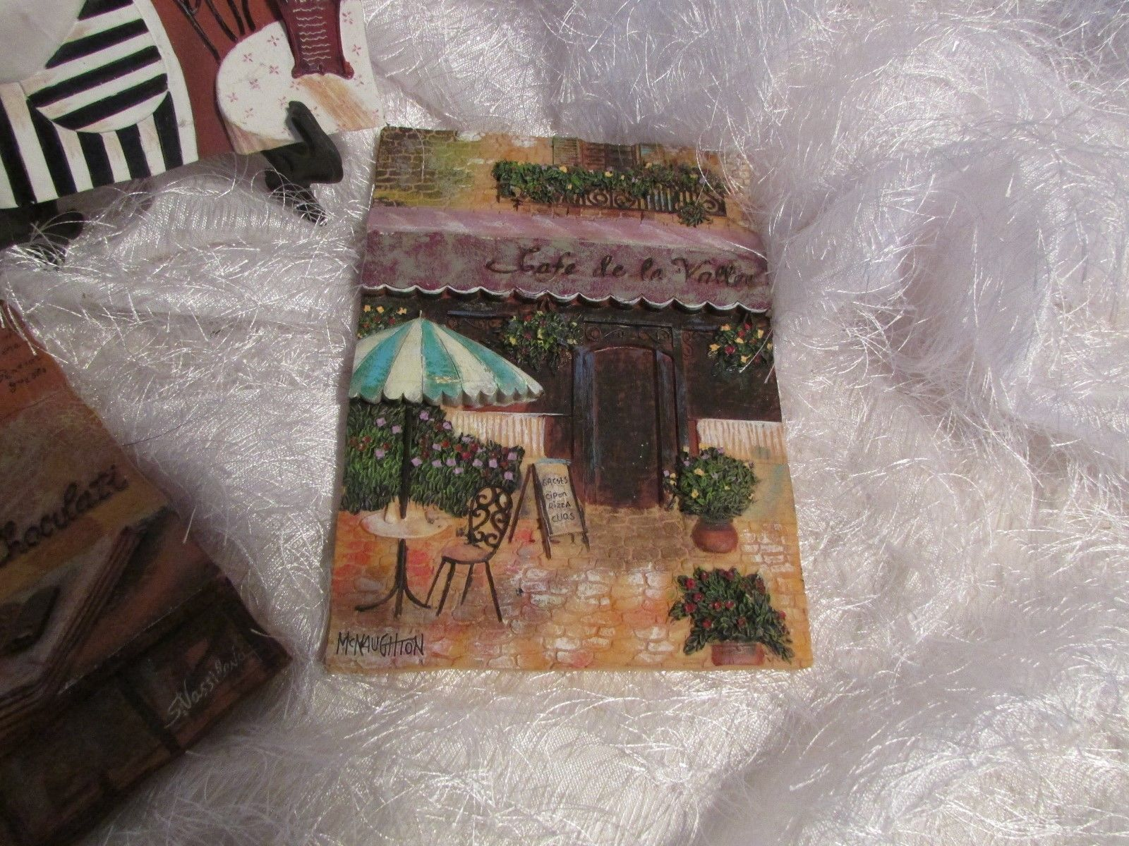 """ceramic 3d wall plaque set of 3 depictiong CAFES, BEVERAGES approx 6.5 x 4.75"""""""