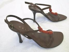 CELINE Brown Leather Strappy Sandals w/ Orange Beaded Center - Size 35 - $69.99
