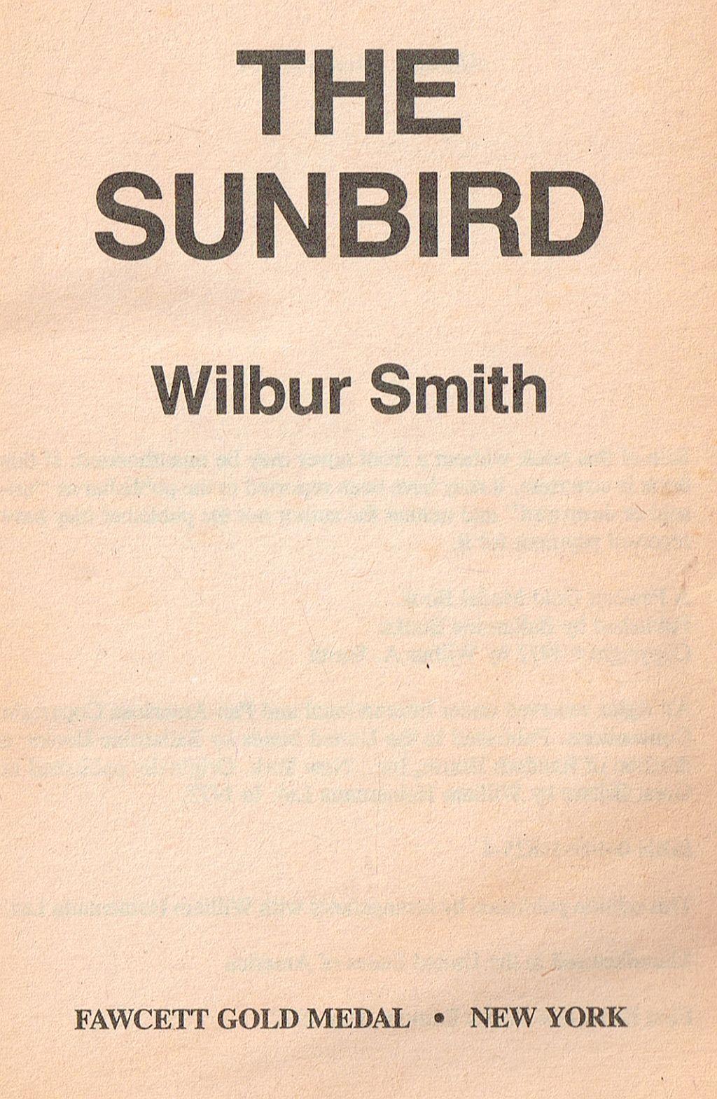 The Sunbird Wilbur Smith fiction 1972 paperback 1992 Ballantine Books