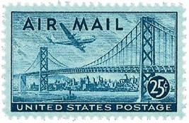 1947 25c San Francisco-Oakland Bay Bridge Scott C36 Mint F/VF NH - $1.89