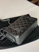 AUTH CHANEL SO BLACK DARK PEARLY GREY LAMBSKIN LARGE MINI 20CM FLAP BAG  image 4