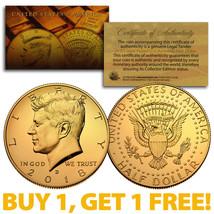2018-D 24K GOLD Gilded JFK Kennedy Half Dollar Coin (D Mint) BUY 1 GET 1... - $10.84