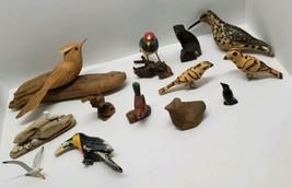 Vtg Carved Wood Decoy Bird Figurine Lot Hand Painted WEK Kenya Driftwood... - $67.72