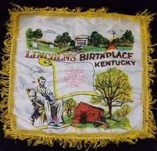 Vintage 1940'S LINCOLN'S BIRTHPLACE Kentucky SOUVENIR FRINGE SATIN PILLO... - $24.14
