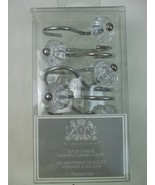 Set 12 Shower Curtain Hooks Silver Metal Hangers w Faceted Clear Acrylic... - $14.80