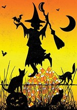 Toland Home Garden Candy Corn Witch 12.5 x 18 Inch Decorative Colorful H... - £11.81 GBP