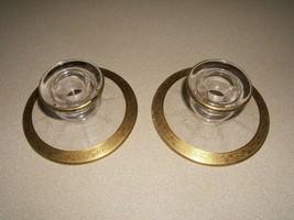 Pink Depression Glass Gold Trim Candle Stick Holders w/Decorative Gold Trim - $14.80