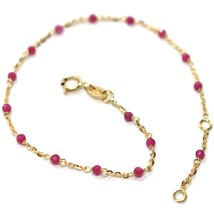 18K YELLOW GOLD BRACELET, RED FACETED CUBIC ZIRCONIA, ROLO CHAIN, 6.9 IN... - $126.00